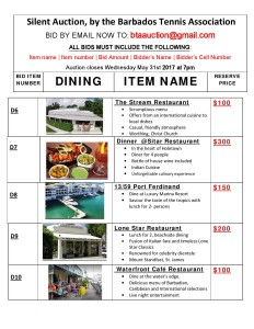 Bid Items DINING 6-10