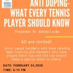 Anti-doping Lecture – What Every Tennis Player Should Know! : February 24 2020
