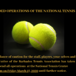 National Tennis Centre closure – effective Friday March 27, 2020 from 6pm
